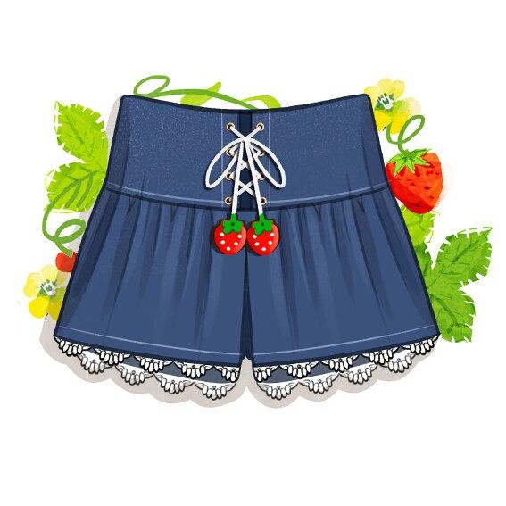 Harajuku японский мори девушка клубника короткие брюки с кружевом лоскутное высокая талия бинты джинсы lovely женщины брюки
