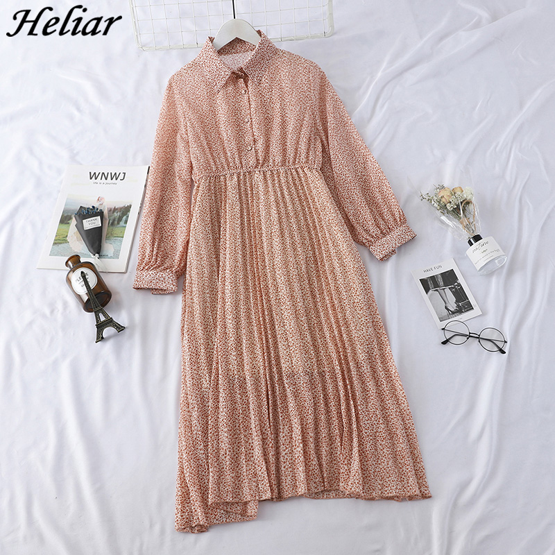 HELIAR 2019 Spring Women Dress Elegant Evening Party Elastic A-Line Chiffon Dress Lady Floral Print Pleat Casual Dresses 1