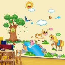 Kindergarten classrooms the wall stickers Children room cartoon animals of bedroom head a bed
