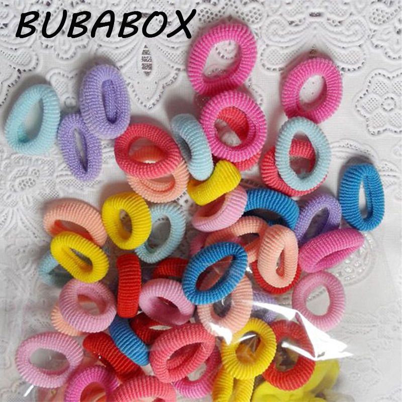100Pcs/Pack! Chidren Cotton Ponytail Holder Hair Rope Towel Circle Elastic Hair Bands Headwear Hair Accessories mixed-color
