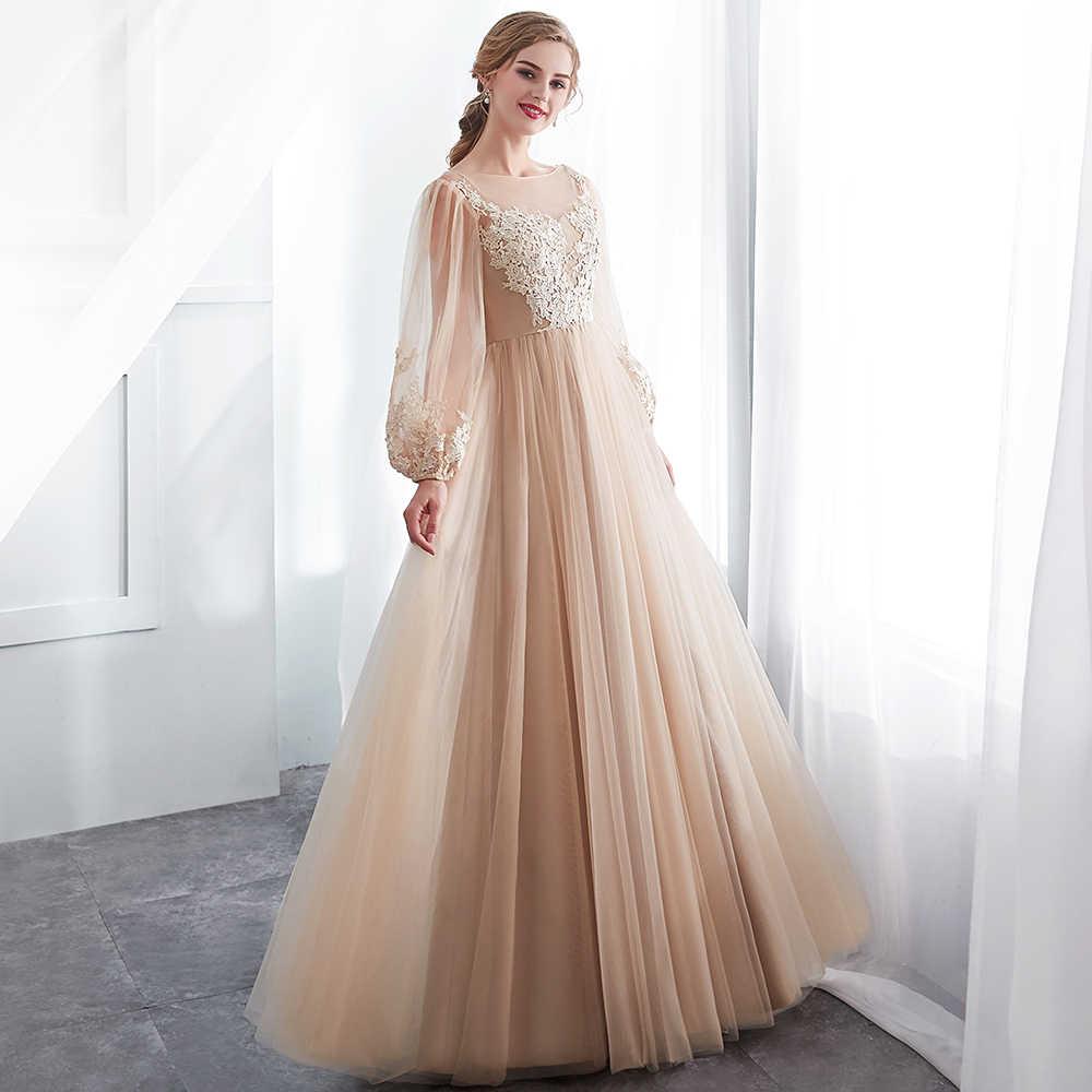 57f854faa9d4c Babyonline Long Sleeves Lace Appliques Evening Dresses 2019 Scoop Formal  Party Gowns Soft Tulle vestidos de festa longo