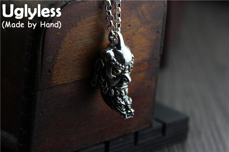 Uglyless Réel 925 Sterling Argent Bouddhisme Bodhidharma Pendentif pour Les Bouddhistes Thai Argent Colliers sans Chaînes Dragon Bijoux