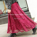 Free Shipping 2017 New Fashion Women Lace Elastic Waist Long Maxi Expansion Bottom Ladies Summer Black And White A-line Skirts