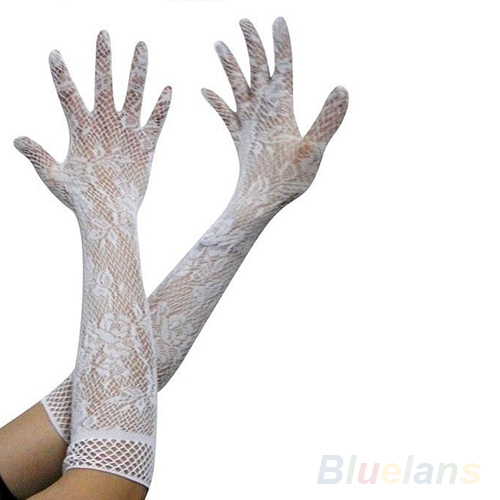 2016 New Women Sexy Stretch Lace Opear/Long Length Gloves - Black White Red