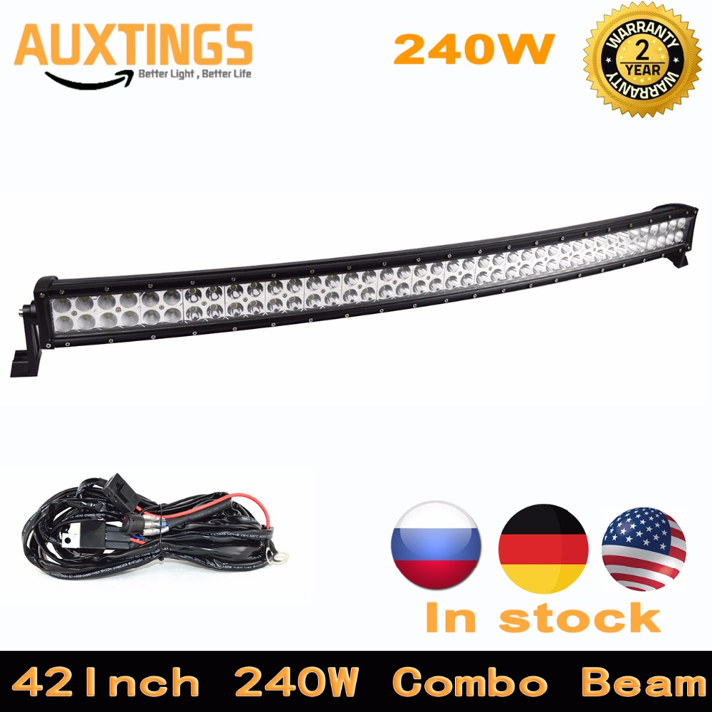 high lumen curved led light bar 42 inch 240w combo beam 12v led work light offroad