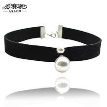 ASACH Harajuku Simulated Pearls Velvet Choker Necklaces For Women Black Colar Fashion Jewelry Necklace Choker Collier Ras Du Cou