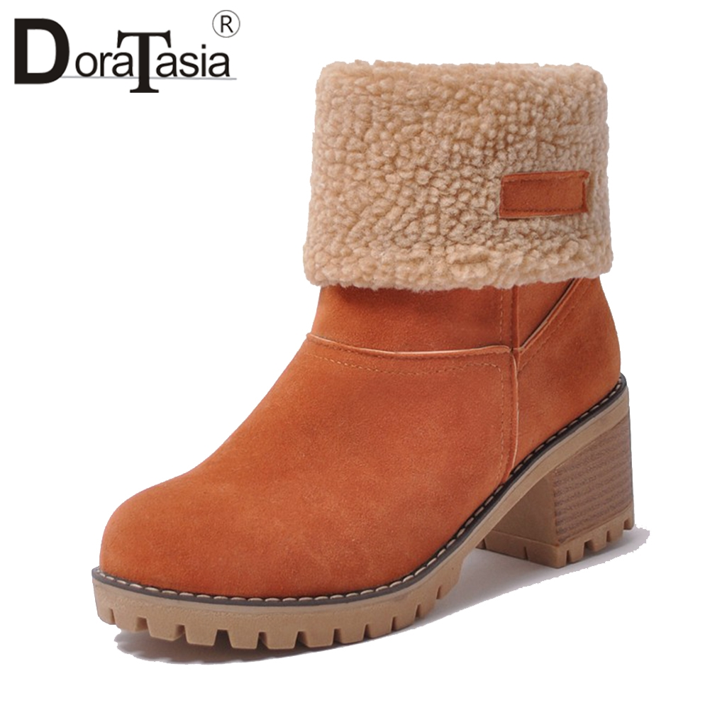 DoraTasia New Women Ankle Boots Winter Fur Shoes Woman Heels Platform Footwear Faux Flock Suede Snow Boots Big Size 34-43 faux fur knitted bowknot snow boots