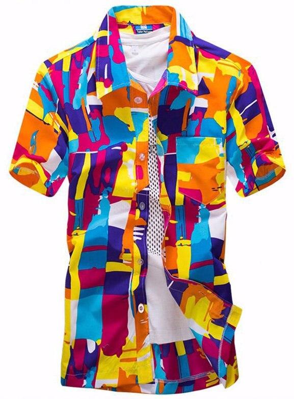 2018 New Hot Fashion Slim Mens Printed Beach Colorful Geometric Printed Short-Sleeved Shirt Lapel Male Beach Camisas ST16