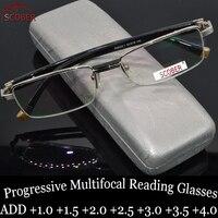 = SCOBER = прогрессивные многофокусные очки для чтения мужские из титанового сплава SENATOR Commercial для дальнозоркости и дальнего верха 0 ADD + 1 To + 4