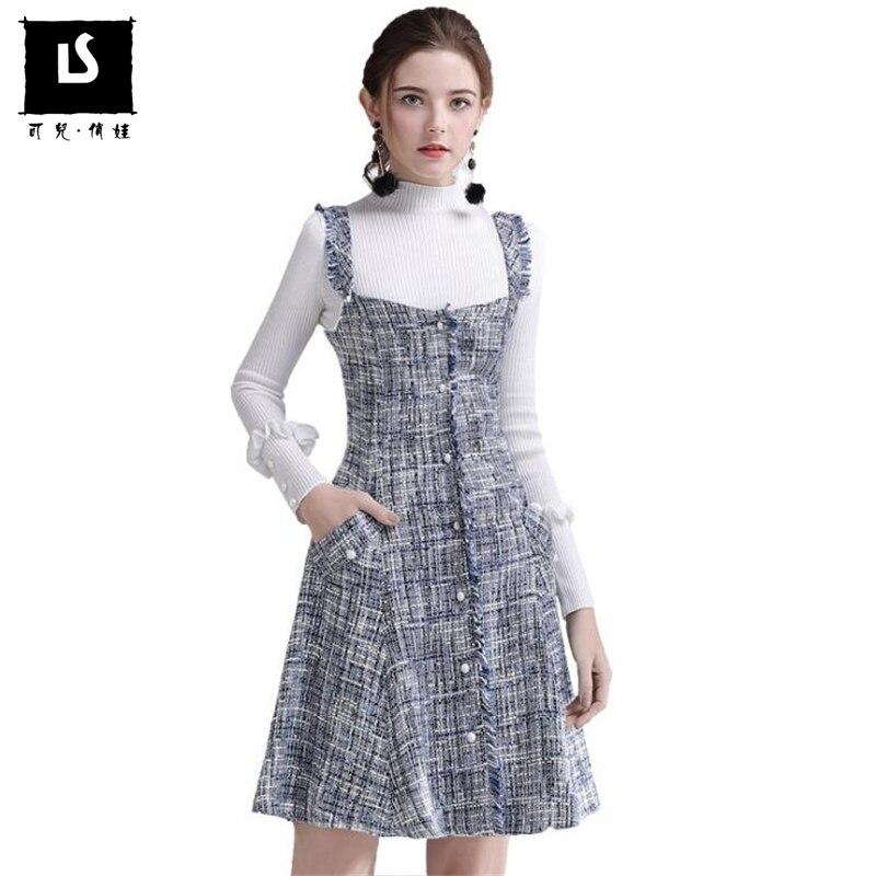 Autumn Winter Slim Tassel Pocket Dress Women Woolen Party Dress Women Elegant High waist Vest Casual