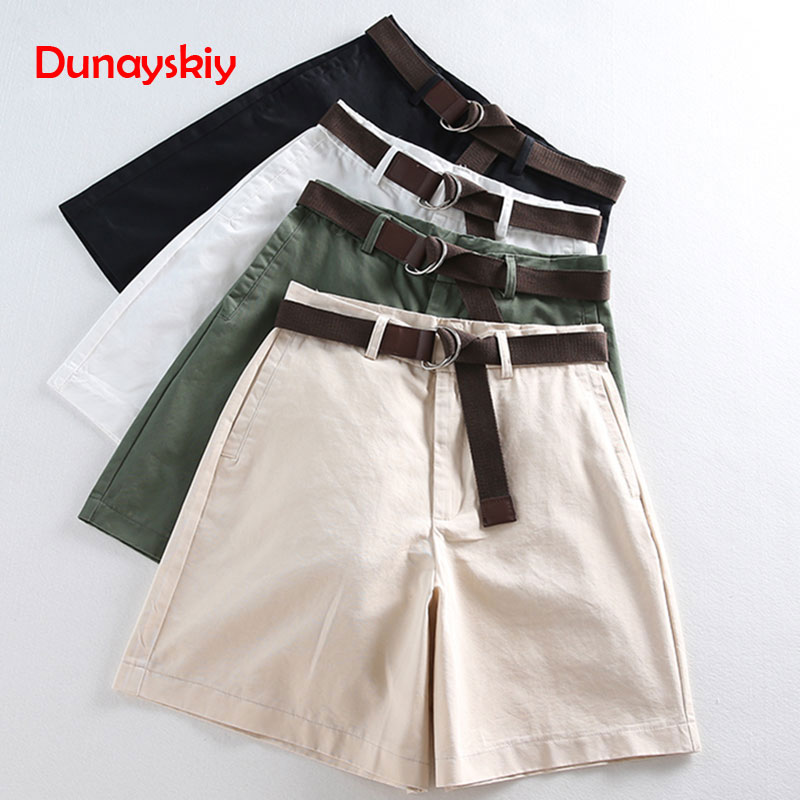 All-match 4 Solid Color Sashes Casual Women Shorts A-line High Waist Slim Summer Shorts Feminino Chic S-XXL Ladies Bottom