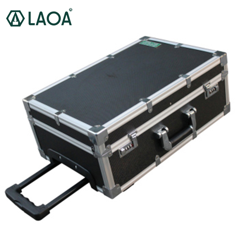 LAOA 20 Inch Aluminum Shock Resistance Tool Case Storage Box Luggage Carrier Inner Plate Removable With Code Lock