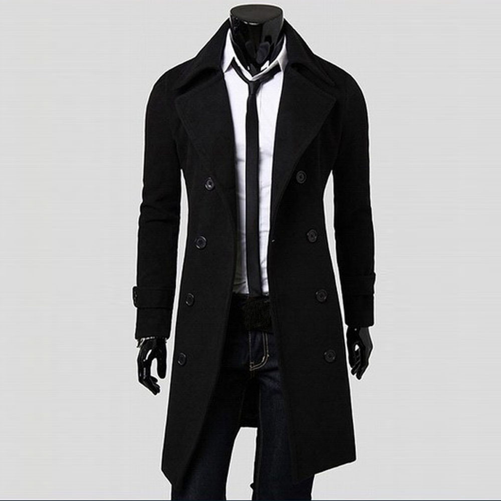 Coat Winter Slim Stylish Trench Coat Double Breasted Long Jacket Parka Mens Overcoat