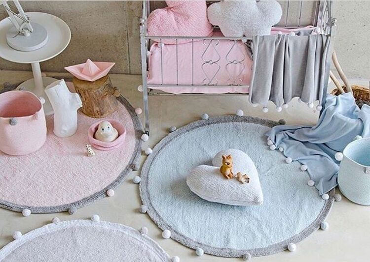 120 cm épais polaire Pom Pom enfants chambre décoration en peluche tapis de jeu tapis anti-dérapant grand tapis de sol rond tapis bébé ramper tapis - 2