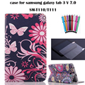 print case for samsung galaxy tab 3 lite 7.0 SM-T110 T111 7''  tablet cover case for samsung t113 t116+screen protector+stylus