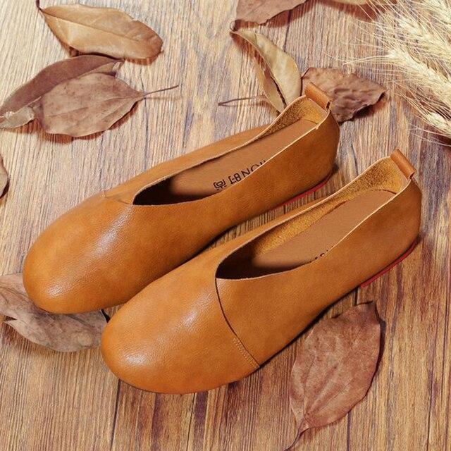2016 Original Vintage Art handmade shoes Brand Genuine Leather Flats Women Shoes Shallow mouth Casual  Fashion Women Shoes z297
