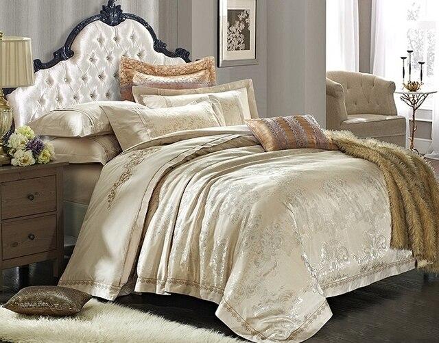 Luxury European Beige Gold Satin Bedding Sets Comforter King Queen Size Bedclothes Duvet Covers
