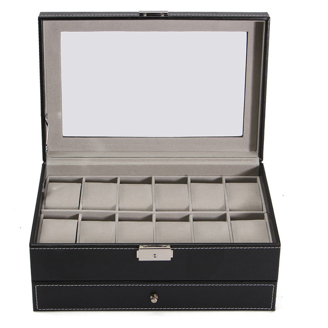 portable 12 grids pu leather watch display case watches box glass top jewelry storage holder organizer