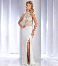 2016 Abendkleider Zwei Stück Perlen Strass Vestido De Festa Prinzessin Stil Formale Kleider Für Hochzeit Kleider