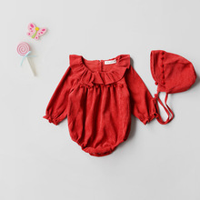 Everweekend Baby Girls Vintage Red Corduroy Rompers with Hats Autumn Spring Sweet Ruffles Neckline Tassels Cute Baby Clothing