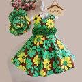 Partido de la Flor de los Bebés de la Impresión Vestido De Algodón Para Niños Adolescente Traje de Los Niños Hat + Dress 2 unids Princesa Vestido