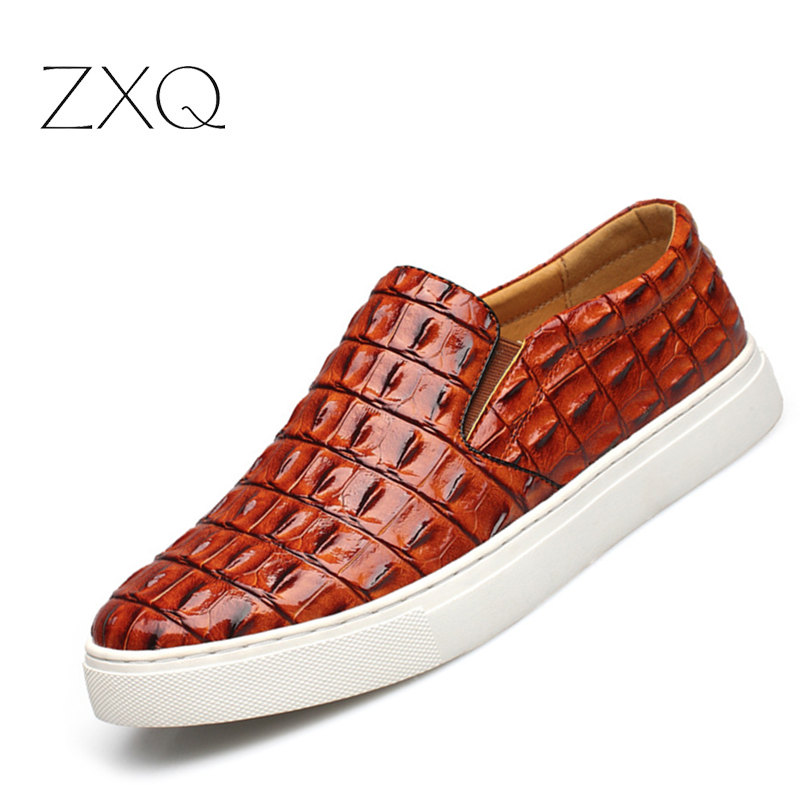 ZXQ 2018 Men Shoes Luxury Split Leather Casual Driving Shoes Crocodile Design Men Loafers Moccasins Italian Oxford for Men Flats