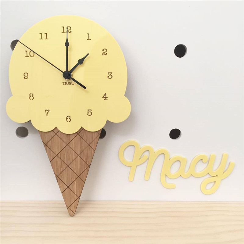 Fushion Ice Cream Clock Time Wall hanging Wood Toys Model Baby Kids Room Furnish Articles INS Child Christmas Birthday Gift Y