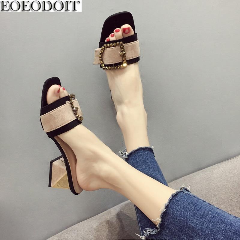 EOEODOIT Летние тапочки мед блок сандалии на каблуке слипоны повседневная женская обувь с металлической пряжкой снаружи сандалии-шлепанцы с от...