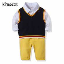 Kimocat Boys Clothing Set Boys Spring and Autumn Knit Vest+Shirt+Trousers Three-Piece SuitHandsome Gentleman Baby Boy Clothes цена 2017