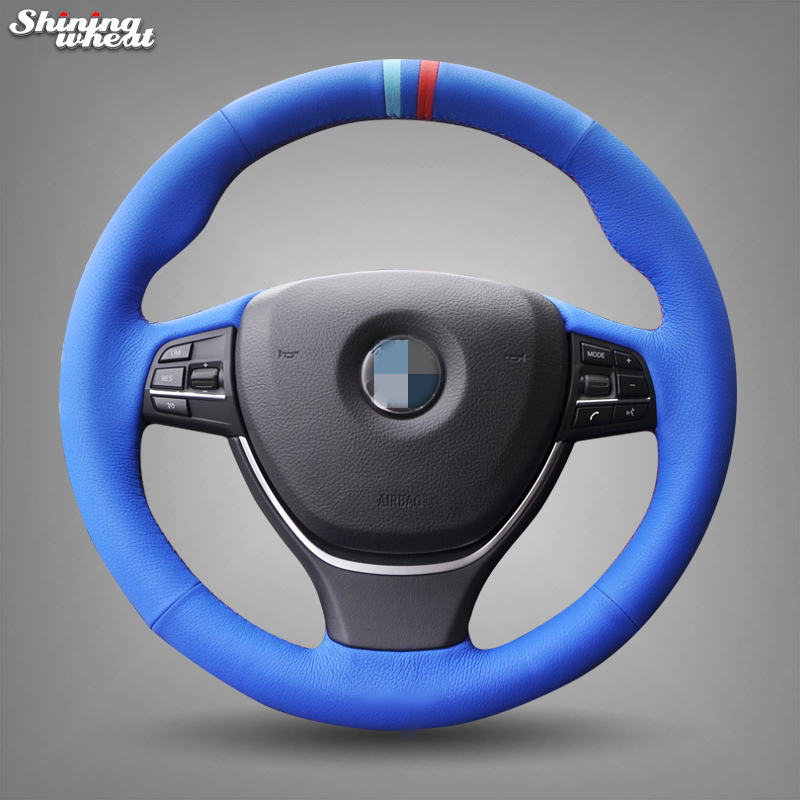 Blue Leather Hand-stitched Steering Wheel Cover for BMW F10 2014 520i 528i 2013 2014 730Li 740Li 750Li