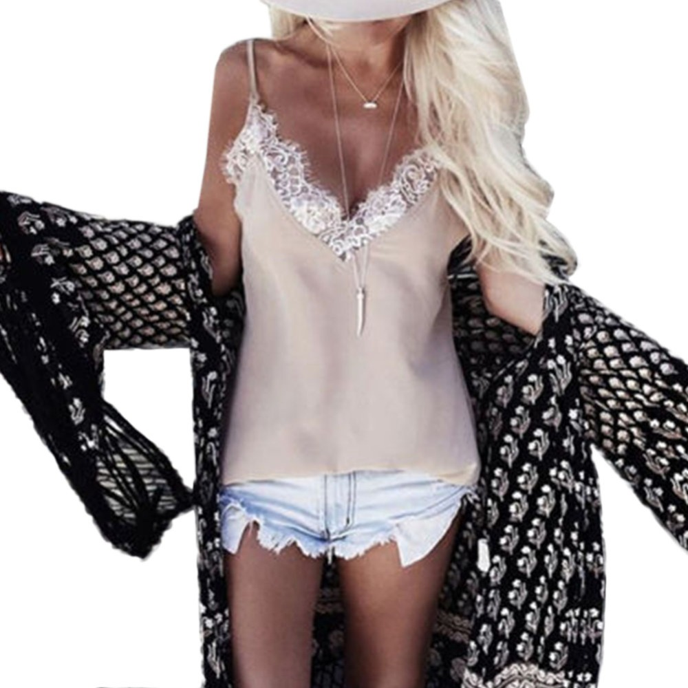 2016 Women Ladies Vest Sleeveless Lace   Tank     Tops   T Shirt Summer Casual Loose Backless Femme Blouse Camis KJ2