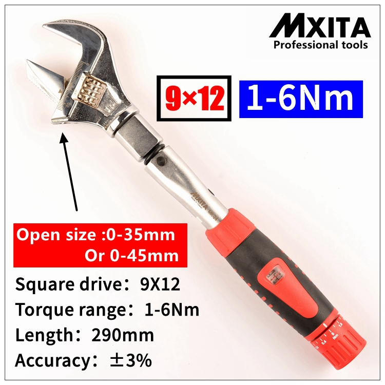 Llave manual MXITA 1-6Nm 2-24Nm ABIERTA Inserto ajustable de 35 mm o 45 mm Cabeza terminada Llave dinamométrica intercambiable