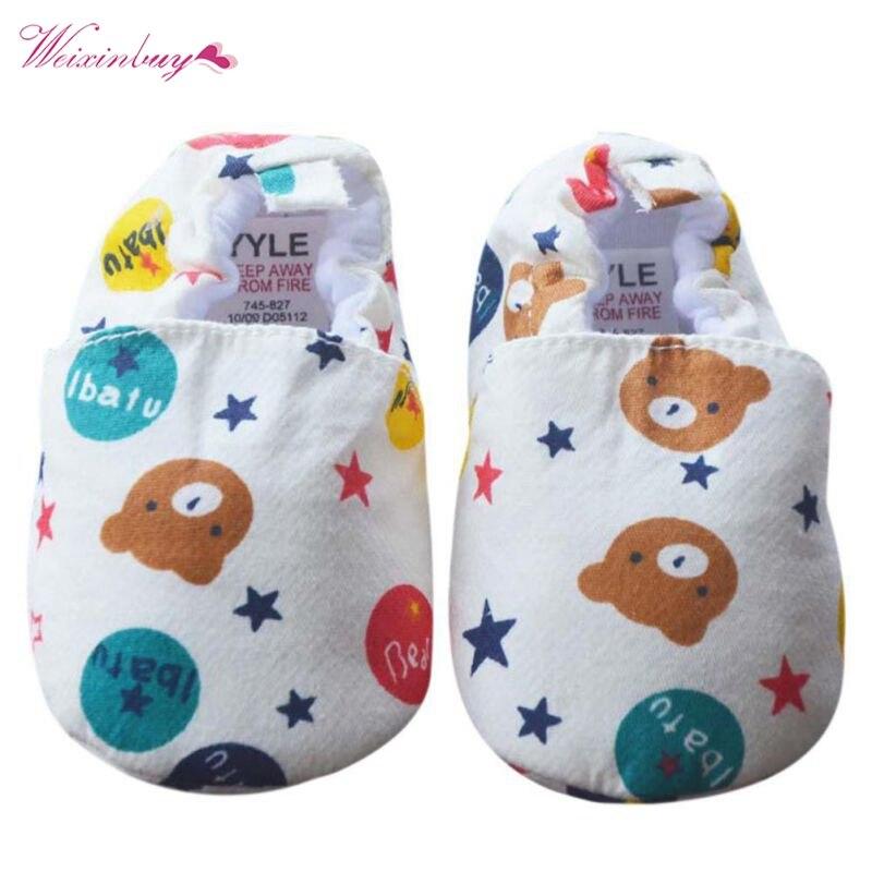 הדפסה חמודה פעוט תינוק נעלי תינוק ילד להחליק על כותנה בנים בנות רכות Sole הראשון הליכונים 0-18 M