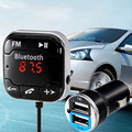 A2DP Magnetic Car Kit Bluetooth FM Transmitter MP3 Player 3.5mm Car Kit With Dual USB Car Charger +Magnetic Sticker BT-760