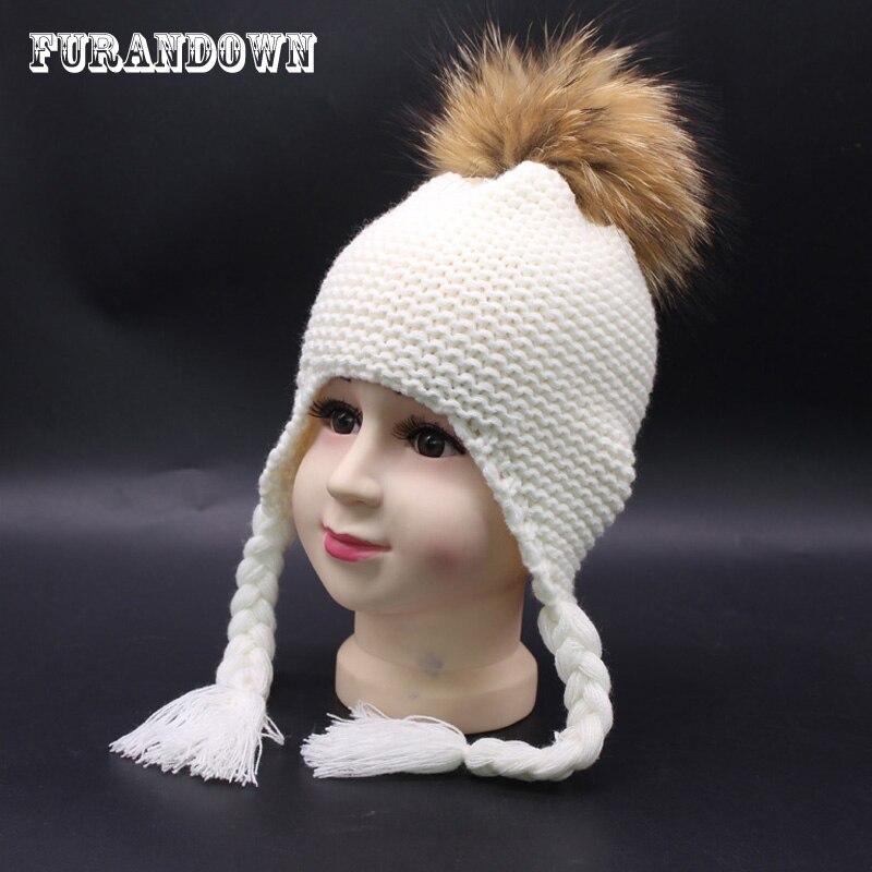 Piel pom sombrero niños Knit Earflap del bebé del casquillo 100% piel pompom skullies invierno sombreros