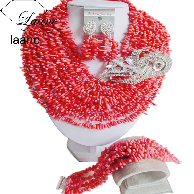 Laanc Pink Coral Beads Necklace Jewelry Nigerian Wedding African Coral Jewelry Set Bridal Jewelry Sets AL558 цена