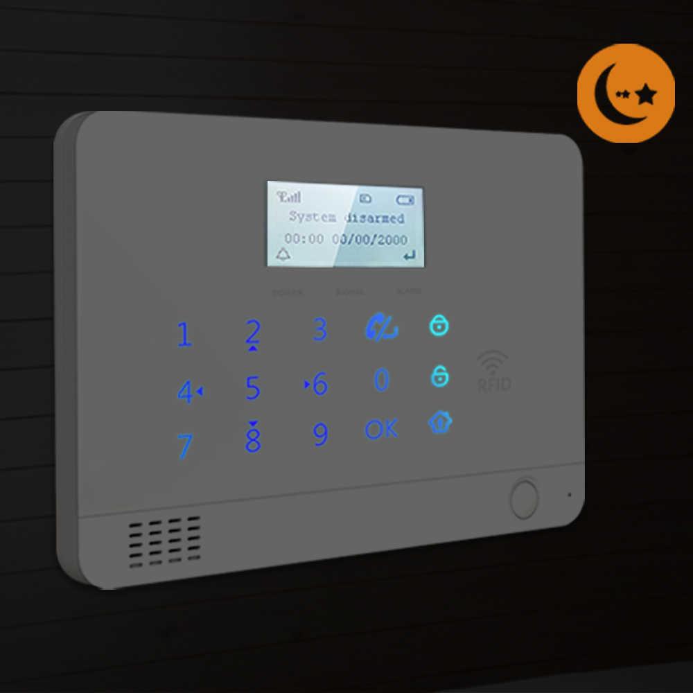 Wolf-Guard LCD GSM SMS di Allarme Domestico Senza Fili di Sicurezza Antifurto Sistema di 8 Sensore Porta 4 PIR Rivelatore 1 SOS pulsante 4 Telecomandi 4 RFID