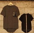 2016 de Grandes Dimensões dos homens Hip Hop T Camisas de Retalhos de Couro Estendido camisetas Homem Moda Verão tshirt Kanye West Roupas