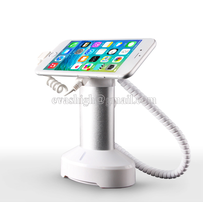 Mobile phone security stand holder alarm tablet anti theft device charging dock iphone secure sensors for retail shop exhibit wholesale price mobile phone anti theft alarm display stand with charging for exhibition