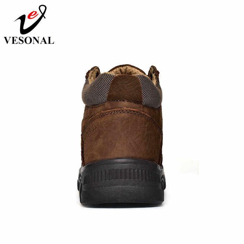 VESONAL натуральная кожа мужской для мужчин обувь взрослых осенние Винтажные ботинки удобные качественные бизнес Дизайн обувь
