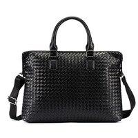 Fashion High Quality PU Leather Weave Bag Large Capacity Business Handbag Men Bag Gentleman Shoulder Bags