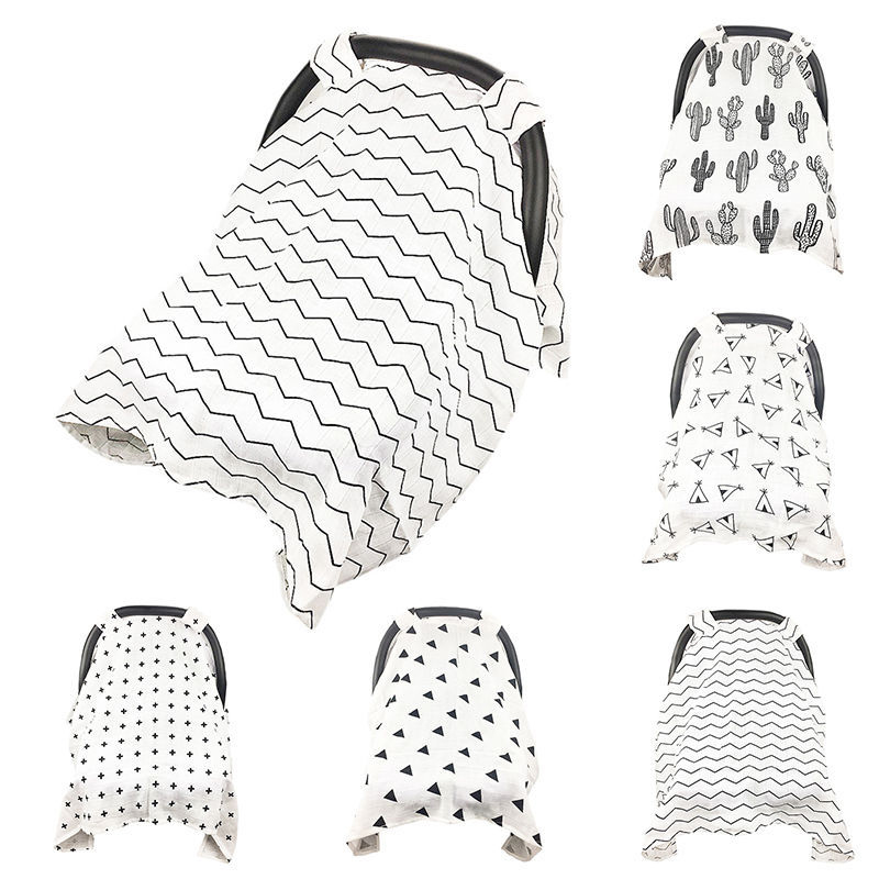 Baby Car Seat Cover Muslin Stroller Nursing Canopy Breastfeeding Sun Shade Craddle Blanket Cover Trolley Covers Carseat Canopy