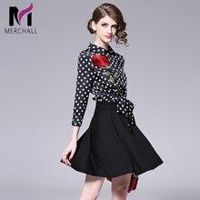 Merchall 2019 Summer Fashion Mini Runway Dress Women Elegant Polka Dot Print Plus Size XXL Vestidos Casual Holiday