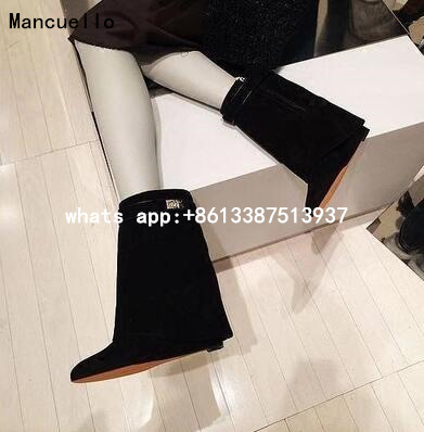 New Arrivals Black Leather Shark Lock Wedge Boots Pointed Toe Silver Button Zip Ankle Boots For Women Motorcycle Autumn Booties