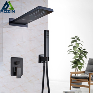 Image 3 - Chrome Waterfall Rain Shower Faucet Set Plastic Handshower Golden In Wall Shower Column 3 Ways Brass Mixer Valve Shower Tap
