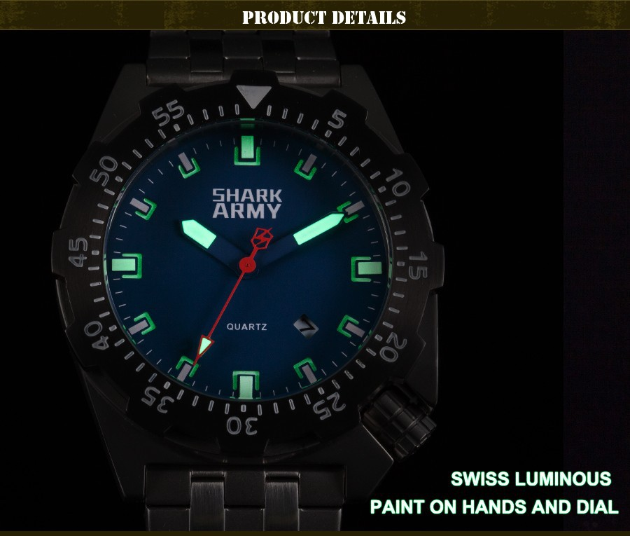 Shark Army Top Brand Man Watch Luminous 10ATM Water Resistant Blue Surfing Military Full Steel Quartz Sport Wristwatches /SAW188 15