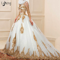 Fashion Gold Appliuqes White Tulle Puffy Muslim Wedding Dress Ball Gowns Custom Made Long Sleeves Muslims Bridal Formal Gowns