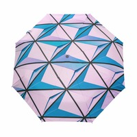 Colorful Square Pink& Blue Pattern Automatic Umbrella Wind Resistant Folding Automatic Umbrella Rain Women Auto Luxury Paraguas