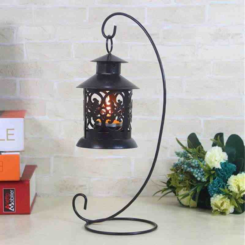 Useful Candle Hanging Stand Holder Table Lantern Metal Candle Holder for Romantic Wedding Dinner Decor Black/White