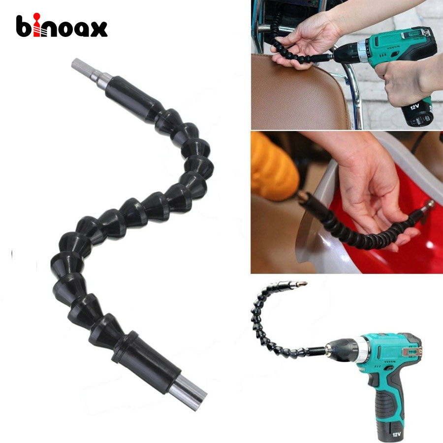 Binoax 295mm Electronics Drill Black Flexible Shaft Bits Extention Screwdriver Bit Holder Connect Link #P00284#
